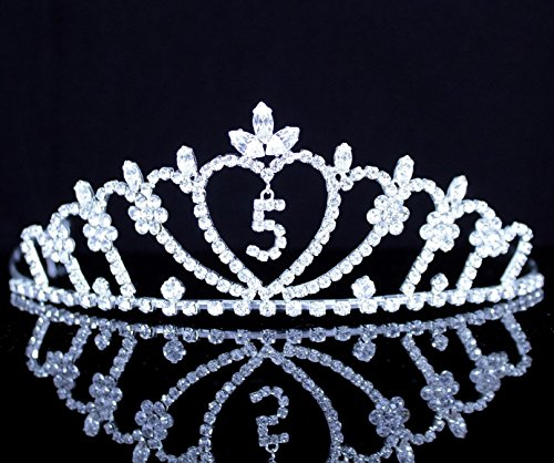 Janefashions 4,5 Years Old Four Five-Year-Old Rhinestone Tiara Crown with Hair Combs Princess Headband Headpiece Girl's 4th 5th Birthday Party T816 (#5 Silver)