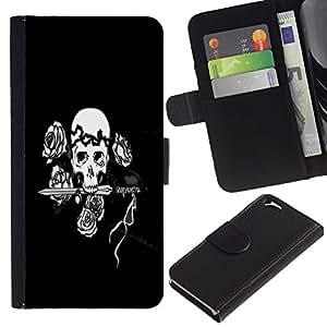 EJOY---La carpeta del tirón la caja de cuero de alta calidad de la PU Caso protector / Apple Iphone 6 / --Cráneo negro y blanco floral Rose