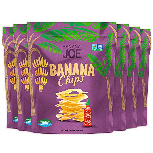 Protein Chips – Post Workout Muscle Recovery | Sriracha Banana Chips| Healthy Snack - Prebiotic & Probiotic | Non GMO - Gluten Free – Vegan – Non Dairy– Nuts Free | Banana Joe ()