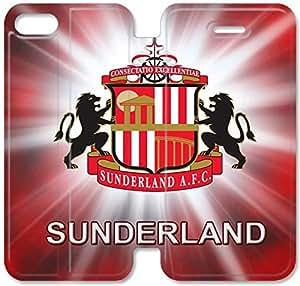 Sunderland Logo U5N44B6 iPhone 4 4S caso del tirón del cuero funda E8B85X3 funda de piel de casos de encargo personalizada del teléfono