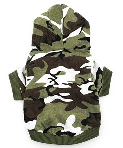 SMALLLEE_LUCKY_STORE BFL002-S Army Green Hoodie Hooded Christmas T Tee shirt Small dog clothes costume - green camo (Small (Camo Dog Hoodie Clothes)