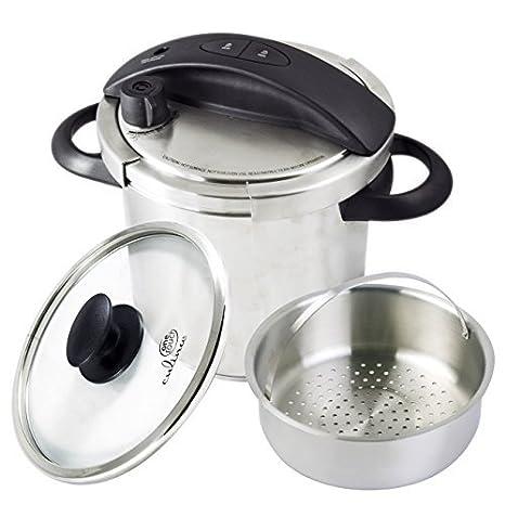 Culina One-Touch olla a presión.Hornillo, 6 cuartos.Acero inoxidable con cesta vaporera.: Amazon.es: Hogar