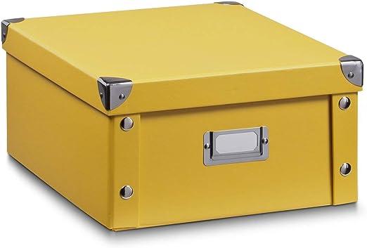 Zeller 17652 Caja de almacenaje de cartón Amarillo (Mango) 31 x ...