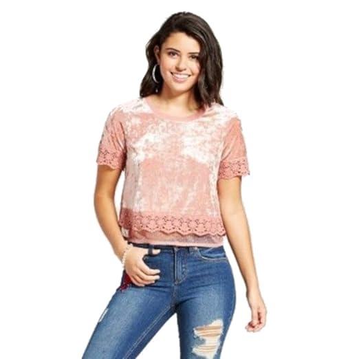 a30c71d33365 Xhilaration Blouses Velvet Lace-Trim T-Shirt Pink Nude at Amazon ...