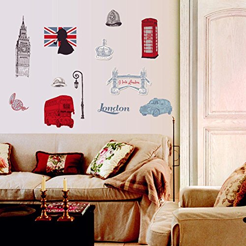 BIBITIME British Style London Wall Decal Sticker Telephone booth Big Ben Tower Bridge Bus Car Street Lights Soldier Helmet Crown Ladies Hat Flag Nursery Kids Room - Style Booth Wall