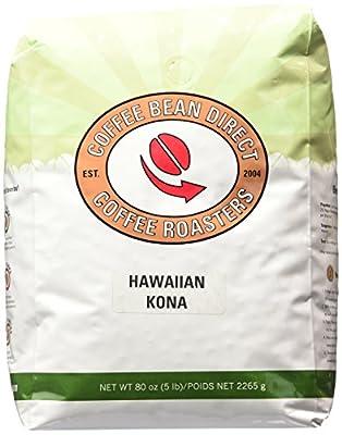 Coffee Bean Direct Hawaiian Kona Roasted Whole Bean Coffee, 5 Pound