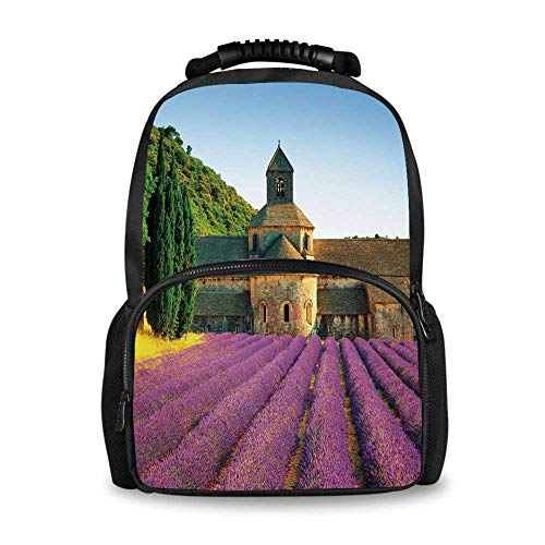 Lavender Adorable School Bag,Abbey of Senanque in France Architecture Countryside Blooming Rows Scenic for Boys,12