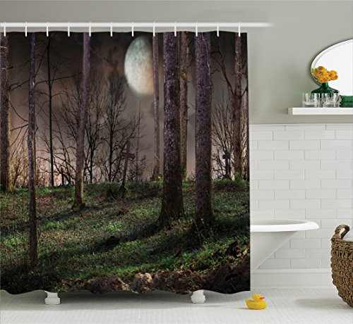 Ambesonne Gothic Decor Collection, Dark Night in the Forest with Full Moon Horror Theme Grunge Style Halloween Photo, Polyester Fabric Bathroom Shower Curtain Set with Hooks, Brown Green Yellow