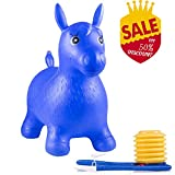 Toys : Wokashaka Horse Hopper, Pump Included, Todllers Ride-on Toys, Inflateable Jumping Horse (Blue)