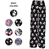 Buttery Soft Pajama Pants for Women - Floral Print Drawstring Casual Palazzo Lounge Pants Wide Leg for All Seasons (XXL, Kitten)