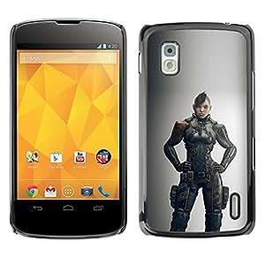 GOODTHINGS Funda Imagen Diseño Carcasa Tapa Trasera Negro Cover Skin Case para LG Google Nexus 4 E960 - mujer guerrera juego héroe gris