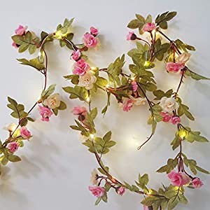 Hecaty 2 Strands Artificial Rose Garland Silk Flowers Hanging Rose Vine with Led String for Wedding Home Party Event Wreath Decor (Pink&Champagne) 5