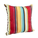 Westport Garden Yellow Red and Blue Stripe 16 x 16 Indoor Outdoor Throw Pillow