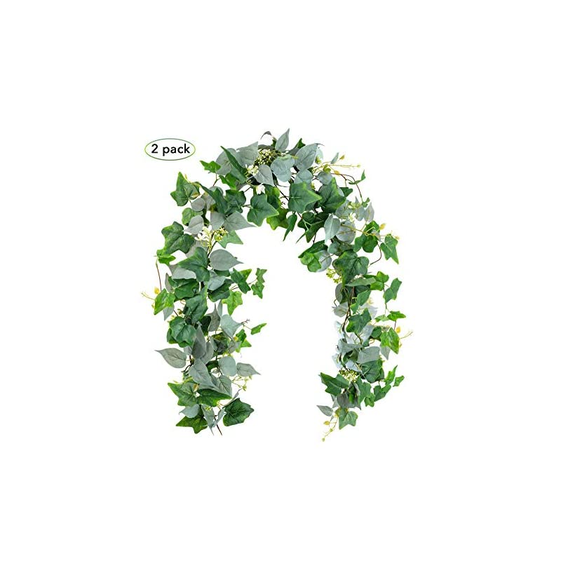 silk flower arrangements 2 pack artificial greenery garland, fake vines - 6ft faux green garland with white flowers and 5.6ft artificial ivy green leaves garland, decorative vines table runner garland