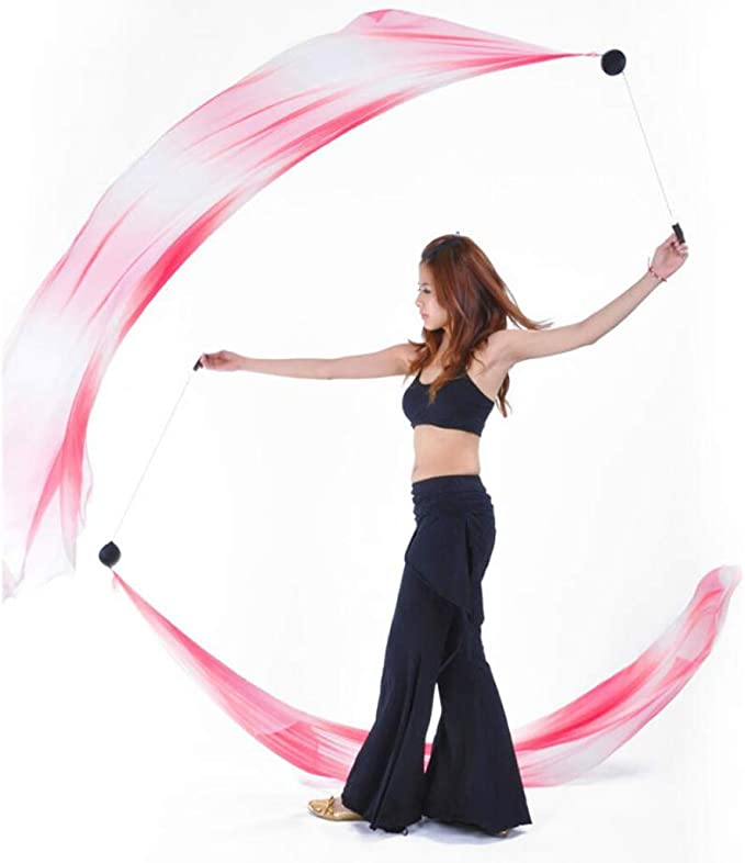206 x 70cm Scarf Belly Dance Silk Veil Poi Balls Yoga Costume Stage Props