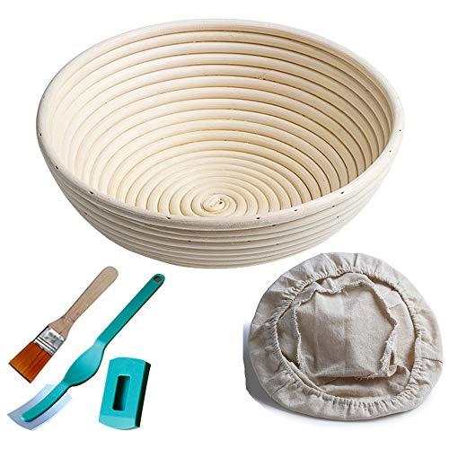"M JINGMEI Banneton Proofing Basket 10"" Round Banneton Brotform for Bread and Dough [Free Brush] Proofing Rising Rattan Bowl(1000g Dough) + Free Liner + Bread Lame"
