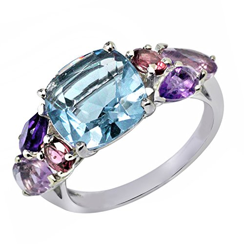 4.00 Ct. Cushion Shape Blue Topaz & Mulit Color Gemstone Ring In 925 Sterling Silver For Women