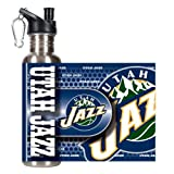 Great American Products NBA Utah Jazz Steel Water Bottle with Metallic Graphics, 26 oz, Silver