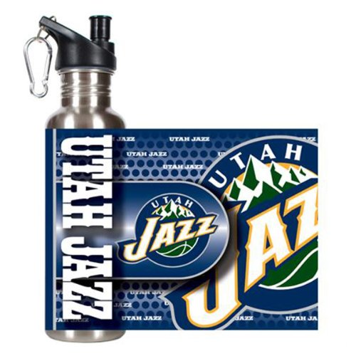 Great American Products NBA Utah Jazz Steel Water Bottle with Metallic Graphics, 26 oz, Silver by Great American Products