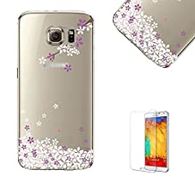 For Samsung Galaxy S6 Edge Plus Case with Free Screen Protector.Funyye Pink Cherry Floral Pattern Crystal Clear Soft TPU Gel Slim Case for Samsung Galaxy S6 Edge Plus-Purple Flower