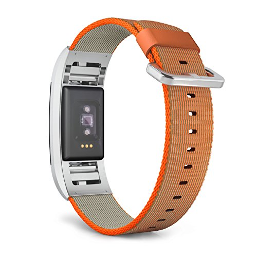 MoKo Fitbit Charge 2 Band , Fine Woven Nylon Adjustable Replacement Strap with Metal Connector and Classic Buckle for 2016 Fitbit Charge 2 Heart Rate Fitness Wristband, Bright Orange & Gray by MoKo