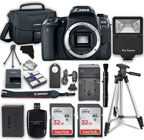 Canon EOS 77D 24.2 MP Digital SLR Camera with Wi-Fi & Bluetooth (Body) + 2pcs 32GB Class 10 SD Memory Card + Accessory Bundle
