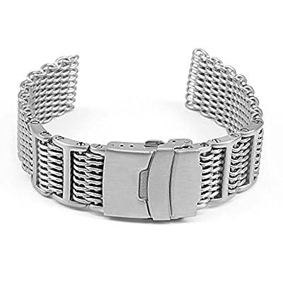 StrapsCo H-Link Adjustable Stainless Steel Shark Mesh Watch Band Proplof from StrapsCo