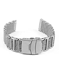 StrapsCo 22mm H-Link Adjustable Stainless Steel Shark Mesh Watch Band for Omega Proplof