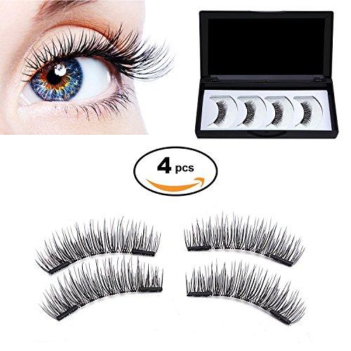 False Eye (HotSan Dual Long Magnetic False Eyelashes Reusable 3D Eye Lashes Ultra Thin Magnetic Lashes No Glue Needed 4 Pieces)