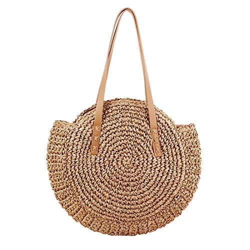 (Women Round Straw Shoulder Bag Tote Summer Woven Beach Bags)
