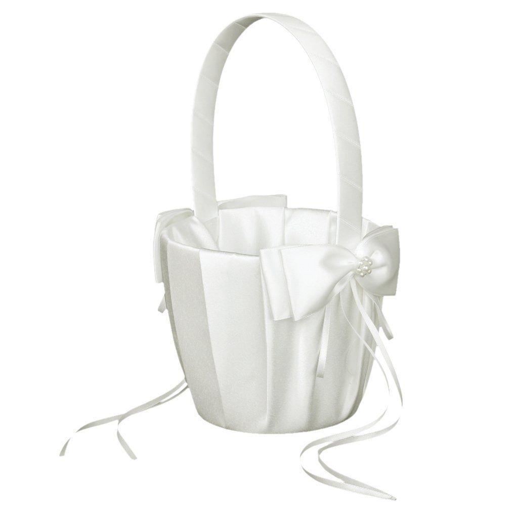 Flower Girl Basket, 1pcs Romantic Vintage Retro Lace Bow Bridesmaid Basket Linen Decor Gift Basket for Wedding Ceremony Party Beauty DIY Mart