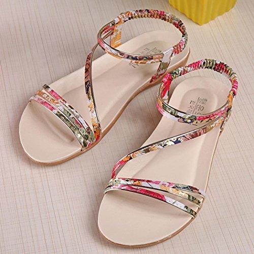Winwintom Mujeres Zapatos Moda Bohemia plana ocio dama sandalias zapatos al aire libre Amarillo