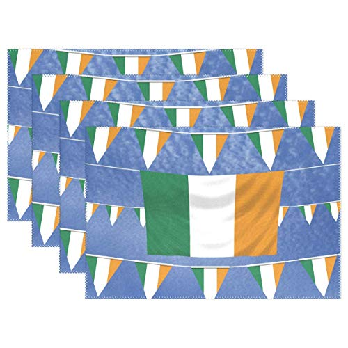 - UTRgdfsvxc Irish Flags Placemats for Dining Table Heat Resistant Kitchen Table Decor Washable Table Mats 4 Pieces