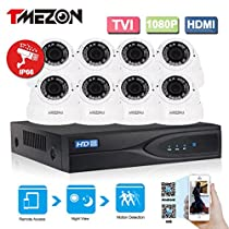 TMEZON 1080P HD-TVI + DVR Video Security System 8CH 1080P DVR with 8x HD 1920TVL 2.0 MegaPixels 2.8-12mm Weatherproof CCTV Camera Supports up to 6TB HDD
