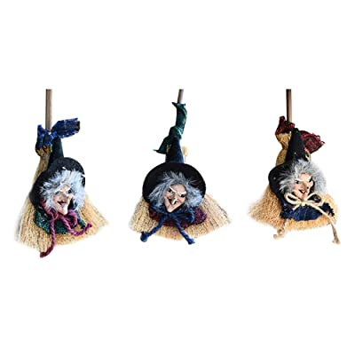 3Pcs Happy Halloween Decorations Witches Broomsticks Hang String Toys Small Haunted Straw Broom Witches Outdoor Indoor Halloween Props House Patio Lawn Garden Hanging Decorative Scary Themed Party Decor Halloween Kids Gifts: