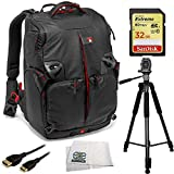 SSE Deluxe Accessory Kit for DSLR Cameras. Includes Manfrotto MB PL-3N1-35 Backpack (Black) + SanDisk Extreme 32GB UHS-I/U3 SDHC Memory Card + 60'' Pro Tripod + Mini HDMI Cable + Cloth