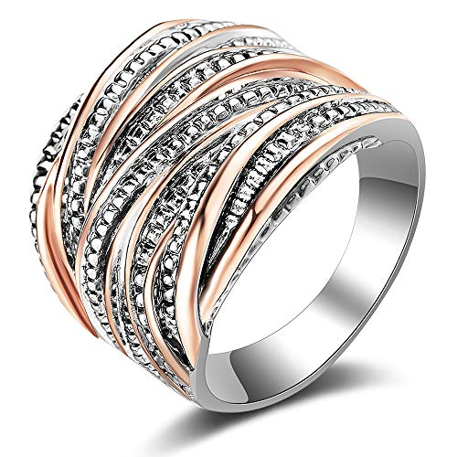 Rose Two Tone Ring (Mytys 2 Tone Statement Rings Intertwined Crossover Wide Band Rings for Women Girl Rose Gold and Silver Plated)