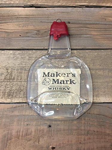 (Maker's Mark whiskey Handmade melted bottle serving tray - Great one of kind gift)