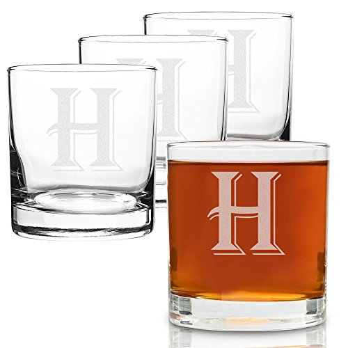 ((H-Monogram)- 4 Piece Set of 11 Ounce Engraved Heavy Base Rocks Glasses Elegant Glass-Multi-Purpose Beverage-Rocks Glass- Perfect Gift for any Occasion- By: On The Rox)