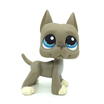 KK toy store New #184 Grey Great Dane Dog Littlest Pet Shop Blue Eyes Action Figures Puppy: Toys & Games