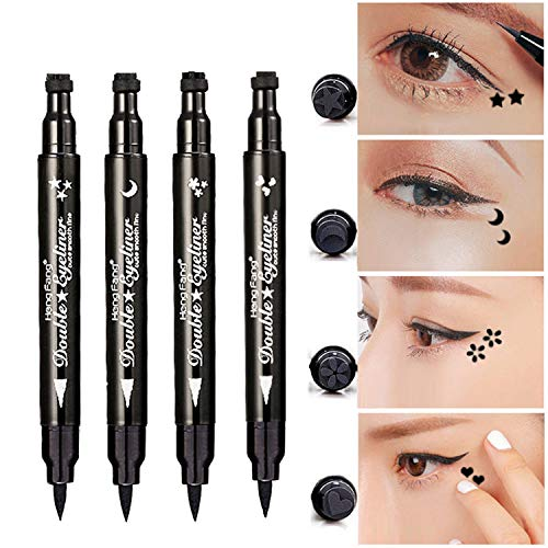 Pinkiou Eyeliner Pencil Pen with Eye Makeup Stamp Waterproof Double Sided Long Lasting Seal Eyeliner (4in1)