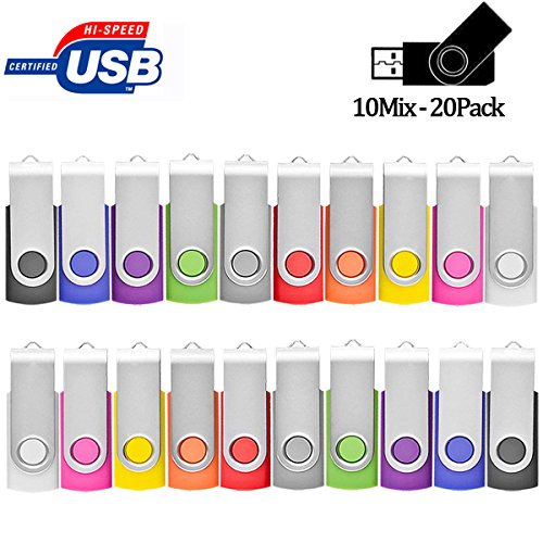 Flash Drive 4GB 20 Pack Bulk, Pen Drive AreTop USB2.0 Flash Drive Memory Stick Swivel Thumb Drives for Fold Date Storage (20Pcs-Multicolors)