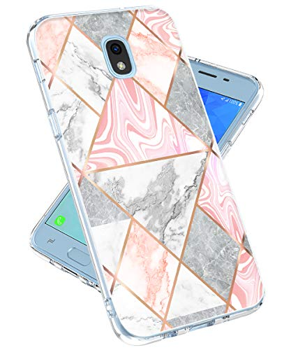 Galaxy J3 2018/Express Prime 3/J3 Achieve/J3 Star/Amp Prime 3/J3 V/J3 Orbit Case for Girls Women,lovemecase Marble Design Clear Bumper TPU Soft Case Rubber Silicone Skin Cover (Shiny Marble)