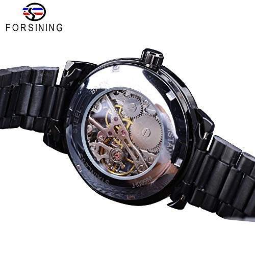 51jOYWZbUWL. SS500  - Forsining 3D Hollow Engraving Full Black Clock Luminous Design Black Stainless Steel Men's Mechanical Watches Top Brand Luxury