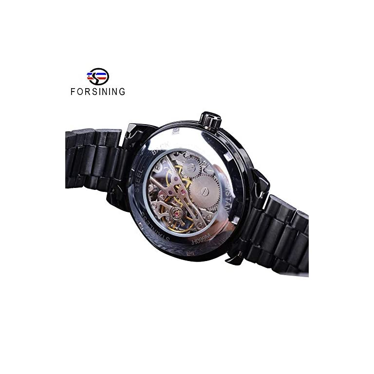 51jOYWZbUWL. SS768  - FORSINING chronograph Men's Watch (Black Dial Black Colored Strap)