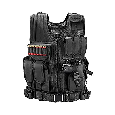 MINGWANG Tactical Vest Training Airsoft Vest, Ultra-Light Breathable Combat Adjustable Outdoors Vest