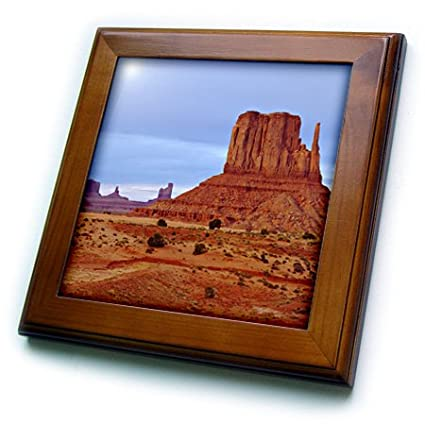 Arizona Sandstone Formations in Monument Valley Framed Tile 3dRose ft/_208888/_1 USA 8 by 8