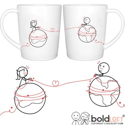 BOLDLOFT You Are Worth Every Mile His and Hers Coffee Mugs- Long Distance Relationships Gifts, Long Distance Mugs, Christmas Gifts for Boyfriend for ...