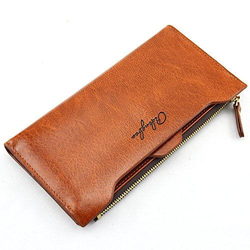 Pidengbao Women's Long Solid Zipper Hasp Clutch Wallet Dark Coffee by Pidengbao (Image #7)