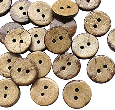 Chenkou Craft 30pcs Brown Natural Coconut Coco Button 2 Holes Craft Clothe Sewing 1 1//2 38mm